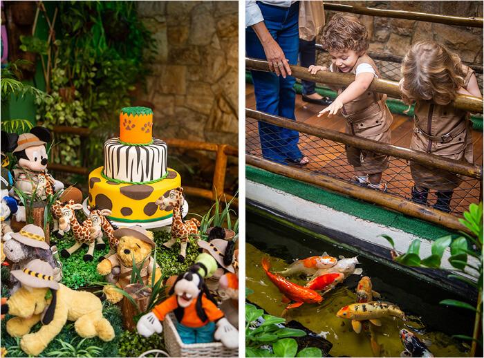 Foto da decoração com detalhes do bolo com tema safari (á esquerda) e as crianças se divertindo com as carpas coloridas