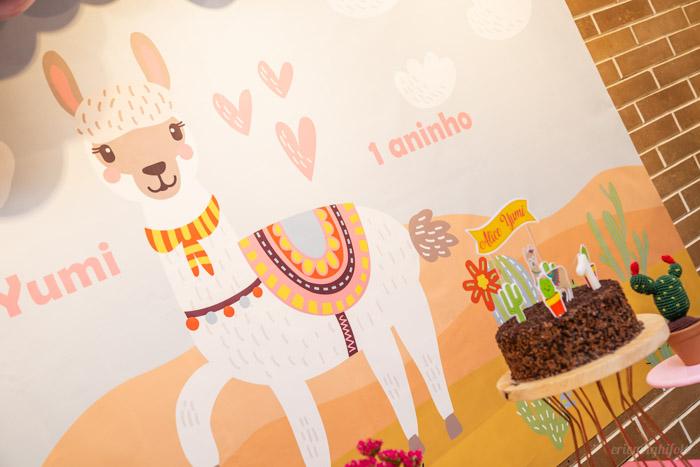 Painel de fundo da decoração de aniversário com tema llama
