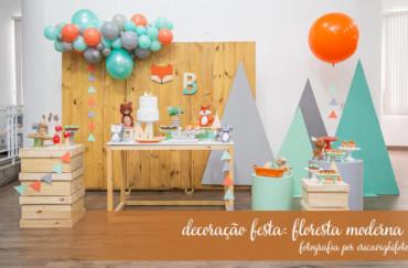 Fotografia de decoração de festa: floresta moderninha