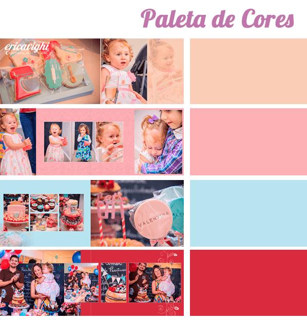Imagem de paleta de cores escolhida para album, nos tons rosa, pessego, azul e vermelho. Cada página, com sua cor de fundo e , ao lado um quadradinho com a cor selecionada.